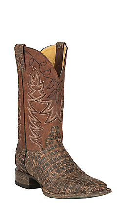 Cavender's by Old Gringo Men's Antique Chocolate Yacare Belly Caiman & Cognac Goat Square Toe Exotic Western Boots