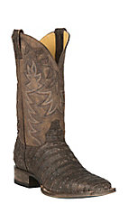 Cavender's by Old Gringo Men's Antique Brown Yacare Belly Caiman w/ Chocolate Goat Upper Exotic Western Square Toe Boots