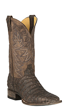 Cavender's by Old Gringo Men's Antique Brown Yacare Belly Caiman with Chocolate Goat Upper Exotic Western Square Toe Boots