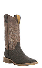 Cavender's Men's Chocolate Wild Boar Print Western Square Toe Boot