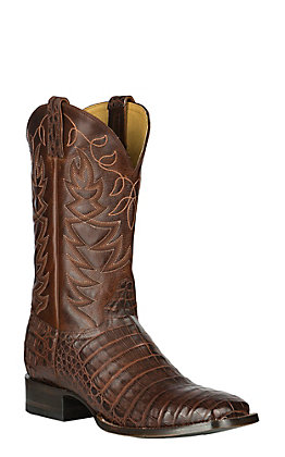 Cavender's By Old Gringo Men's Cognac Fuscus Belly Caiman & Saddle Torino Calf Square Toe Exotic Western Boots