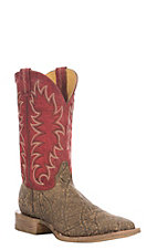 Cavender's Men's Red & Pecan Elephant Print Western Square Toe Boot