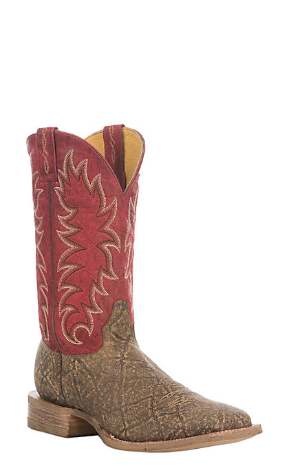 new authentic innovative design authentic Cavender's Men's Pecan & Red Elephant Print Square Toe Western Boots