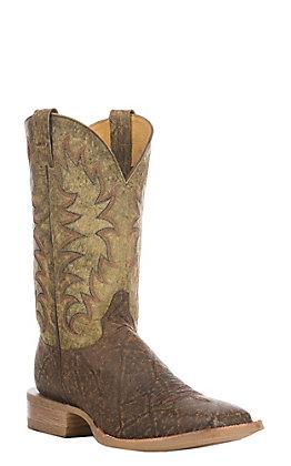 Cavender's Men's Hazelnut & Olive Elephant Print Square Toe Western Boots