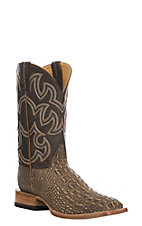 Cavender's Men's Tan & Brown Hornback Gator Print Western Square Toe Boot