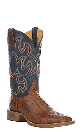 Cavender's by Old Gringo Men's Cognac and Blue Ostrich Print Square Toe Western Boots