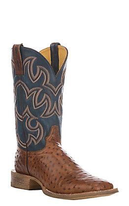 Cavender's Men's Cognac & Blue Ostrich Print Square Toe Western Boots