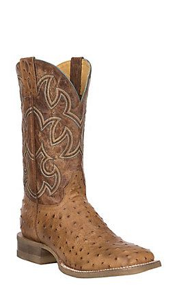 Cavender's Men's Brown Ostrich Print Square Toe Cowboy Boots