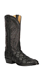 Cavender's by Old Gringo Men's Black Flat Pirarucu Exotic Western Round Toe