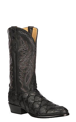 Cavender's by Old Gringo Men's Black Flat Pirarucu R-Toe Exotic Western Boot