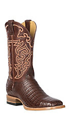 Cavender's by Old Gringo Men's Cigar Caiman Belly with Saddle Brown Calfskin Western Exotic Wide Square Toe Boots