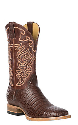 Cavender's by Old Gringo Men's Cigar Caiman Belly Western Exotic Wide Square Toe Boots