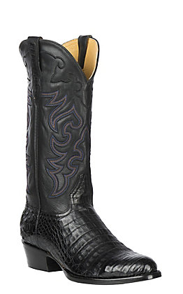 Cavender's by Old Gringo Men's Black Caiman Belly Exotic R-Toe Boots