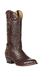 Cavender's by Old Gringo Men's Cigar Caiman Belly with Cigar Brown Calfskin Western Exotic R-Toe Boots