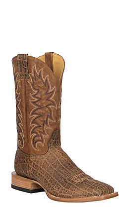 Cavender's by Old Gringo Men's Birch and Tan Elephant Print Leather Square Toe Western Boots