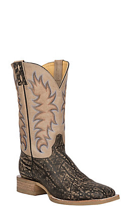 Cavender's by Old Gringo Men's Birch Tan & Bone Elephant Print Leather Square Toe Western Boots