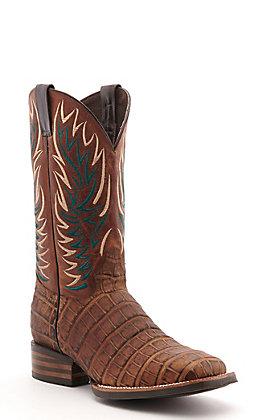 Cavender's by Old Gringo Men's Horseman Saddle Brown Crocodile Print Wide Square Toe Western Boot