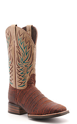 Cavender's by Old Gringo Men's Horseman Brandy Brown Crocodile Print and Bone Wide Square Toe Western Boot