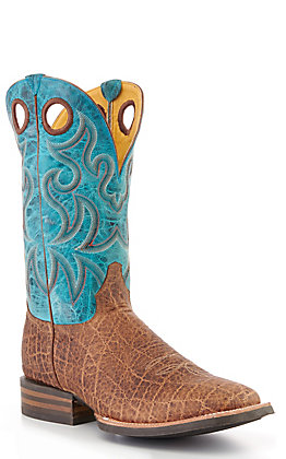 Cavender's by Old Gringo Men's Tan Birch Safari Elephant Print and Turquoise Wide Square Toe Western Boot