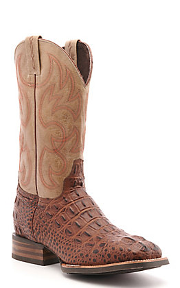 Cavender's by Old Gringo Men's Antique Cognac Hornback Alligator Print and Bone Wide Square Toe Western Boot