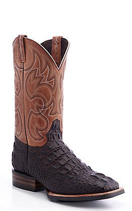 Cavender's by Old Gringo Men's Dark Brown Horn Back Alligator Print Western Square Toe Boots