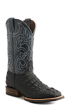 Cavender's by Old Gringo Men's Black Hornback Alligator Print and Grey Wide Square Toe Western Boot