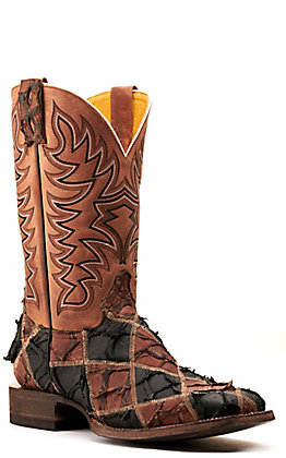 Cavender's by Old Gringo Men's Matte Black and Brown Pirarucu Patchwork with Brass Top Wide Square Toe Exotic Western Boots