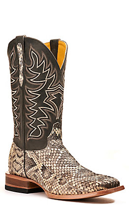 Cavender's by Old Gringo Men's Eastern Rattlesnake and Black Wide Square Toe Exotic Western Boots