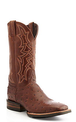 Cavender's by Old Gringo Men's Horseman Medium Brown Full Quill Ostrich Print Wide Square Toe Western Boot