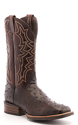 Cavender's by Old Gringo Men's Horseman Dark Brown Full Quill Ostrich Print and Chocolate Wide Square Toe Western Boot
