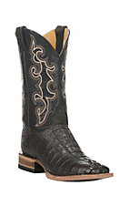 Cavender's by Old Gringo Men's Burnished Brown Gator Tail with Black Upper Exotic Square Toe Boots