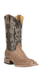 Cavender's by Old Gringo Men's Burnished Tan Gator Tail with Brown Upper Exotic Square Toe Boots