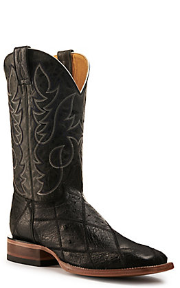 Cavender's by Old Gringo Men's Black Patchwork Ostrich Wide Square Toe Exotic Western Boots