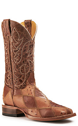 Cavender's by Old Gringo Mens Straw, Cognac and Rust Wide Square Toe Exotic Western Boots