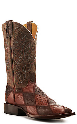 Cavender's by Old Gringo Mens Mocha, Brandy and Tan Patchwork Wide Square Toe Exotic Western Boots