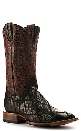 Cavender's by Old Gringo Men's Wine and Black Caiman Patchwork Wide Square Toe Exotic Western Boots