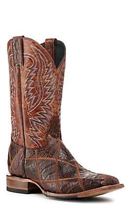 Cavender's by Old Gringo Men's Rust and Cigar Caiman Patchwork Wide Square Toe Exotic Western Boots