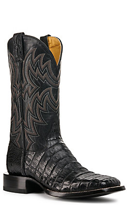 Cavender's by Old Gringo Men's Black Caiman Tail Wide Square Toe Exotic Western Boot