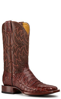 Cavender's by Old Gringo Men's Rust and Brandy Caiman Tail Wide Square Toe Exotic Western Boot