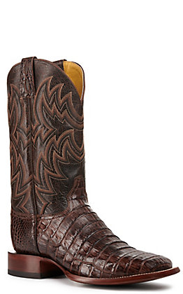 Cavender's by Old Gringo Men's Chocolate Brown and Cigar Caiman Tail Wide Square Toe Exotic Western Boot