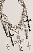 Silver Strike Silver Multi Cross and Feather Charm Necklace and Earrings Jewelry Set