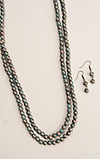 Silver Strike Patina Beaded Necklace and Earrings Jewelry Set