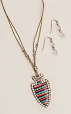 Silver Strike Multi Serape Print Silver Arrowhead with Rhinestones Necklace and Earrings Jewelry Set