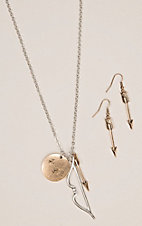Silver Strike Silver and Gold Bow and Arrow Necklace and Earrings Jewelry Set