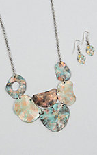 Silver Strike Patina Painted and Hammered Jewelry Set