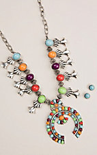 Silver Strike Silver Multi Colored Squash Blossom Necklace with Turquoise Post Earrings Jewelry Set