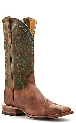 Cavender's By Old Gringo Men's Trinidad Cognac and Turquoise Wide Square Toe Western Boots