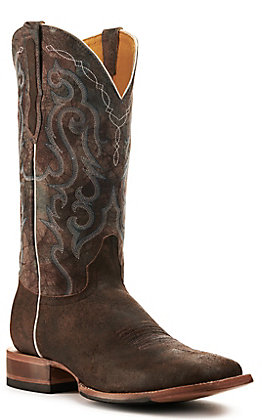Cavender's by Old Gringo Men's Trinidad Ranch Stone with Blue Goat Wide Square Toe Western Boots
