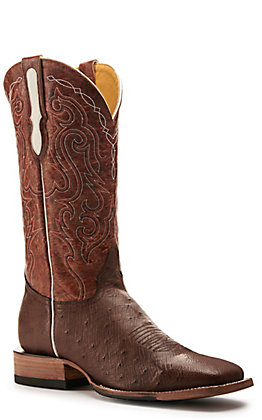 Cavender's by Old Gringo Men's Bruchiato Moka Smooth Ostrich and Rust Wide Square Toe Exotic Western Boots