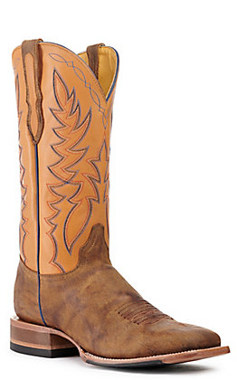 Cavender's by Old Gringo Men's Lamesa Cognac and Honey Goat Wide Square Toe Western Boot